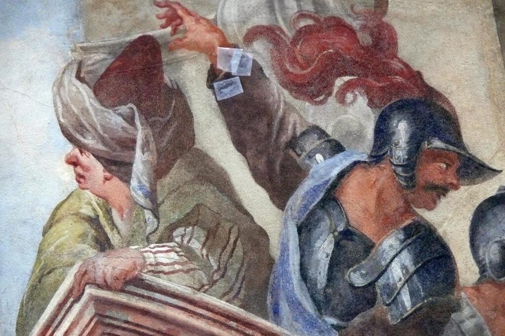 Pražský hrad, nástěnná malba Šalamounův soud v Zelené světnici – detail malby v průběhu restaurování